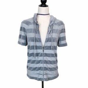 St. John Sport Gray Striped Velour Hoodie